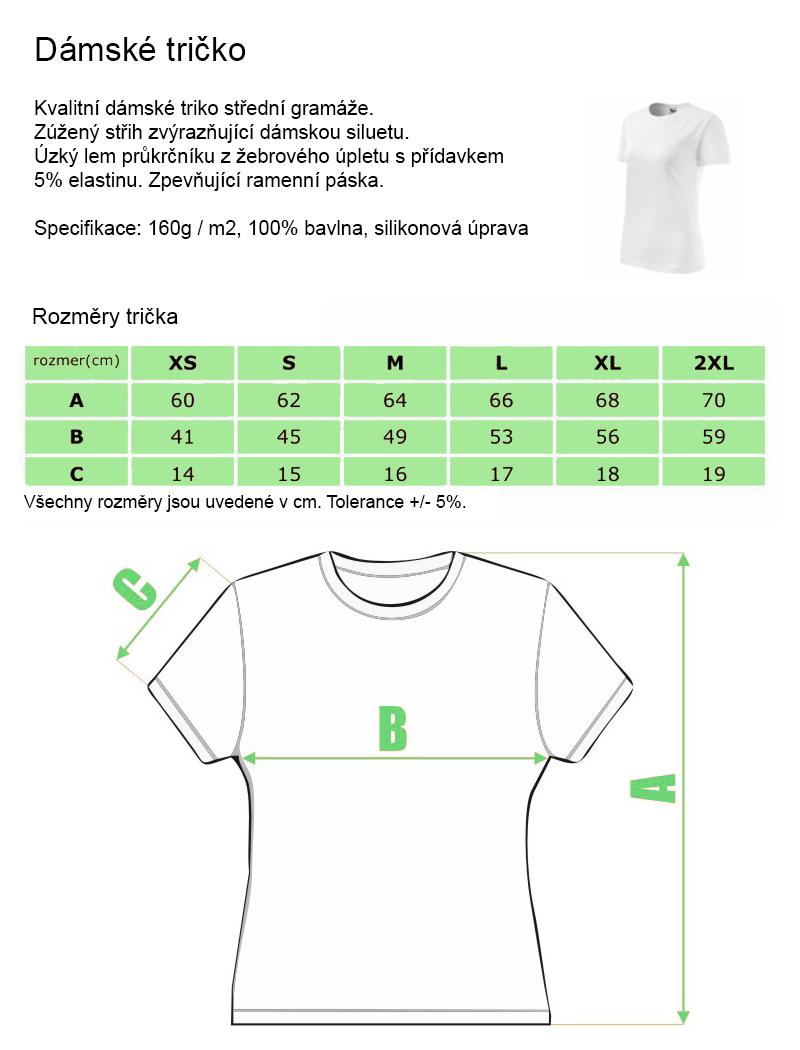 9e9e07154e64 Dámské tričko s kvalitním vlastním potiskem vyrobené ze 100% bavlny