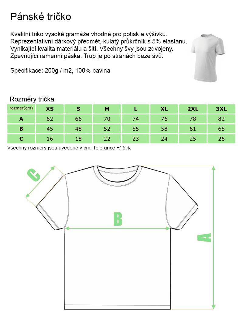 9440901f8e38 Pánské tričko s kvalitním vlastním potiskem vyrobené ze 100% bavlny